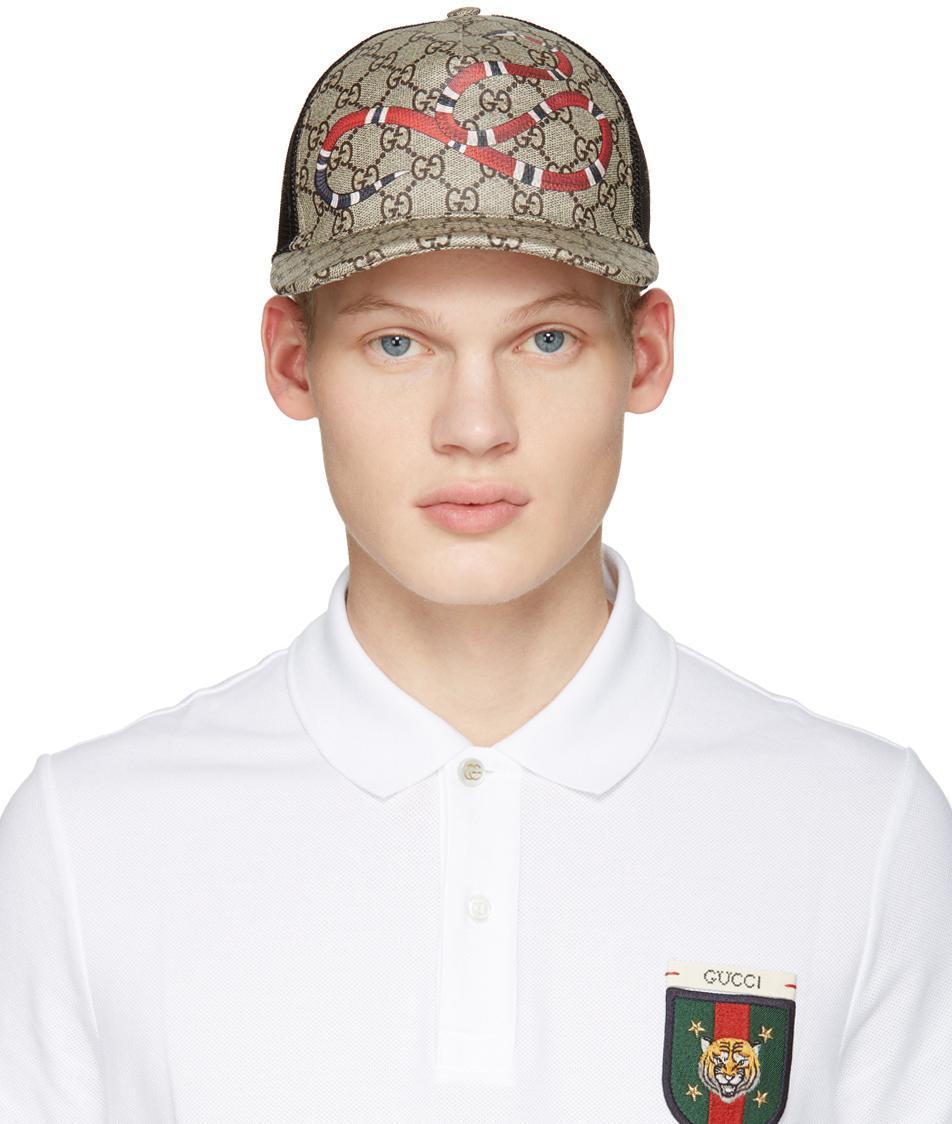 989e3ccad4 Gucci Beige Logo   Snake Cap in Natural for Men - Lyst