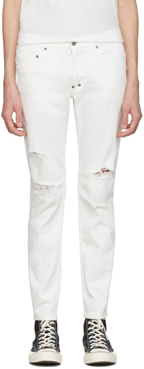 Diet butcher slim skin White Damaged Skinny Jeans in White for Men | Lyst