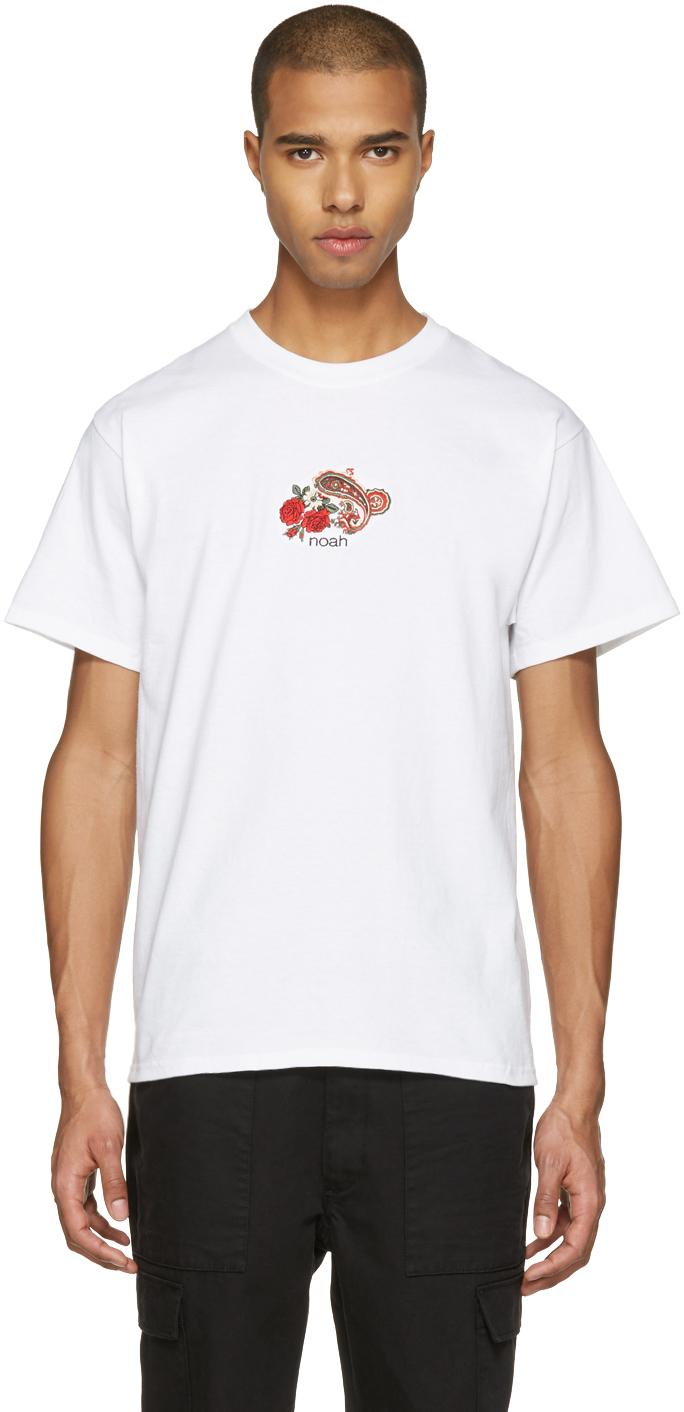 Noah nyc white embroidered paisley logo t shirt in