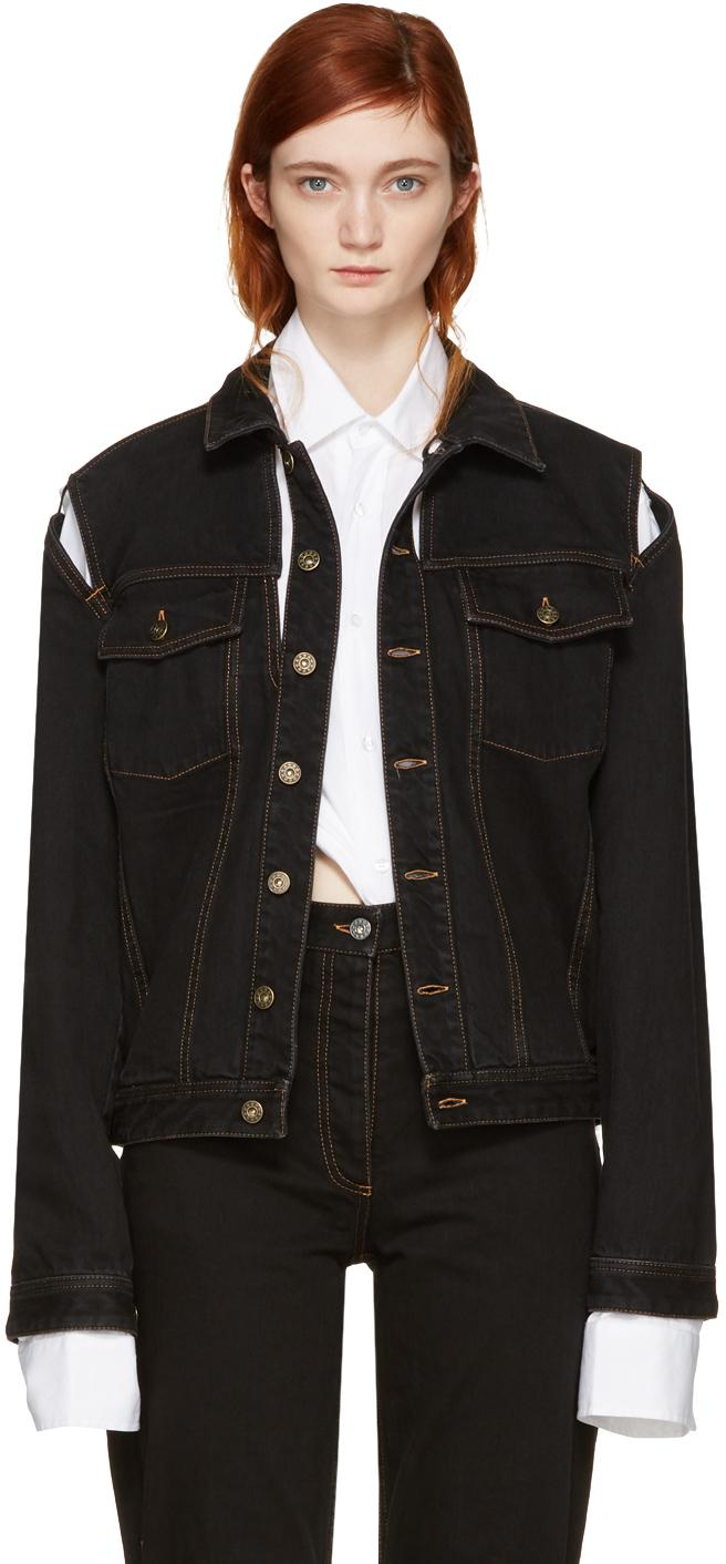 Y. Project Black Denim Cut-out Jacket In Black | Lyst
