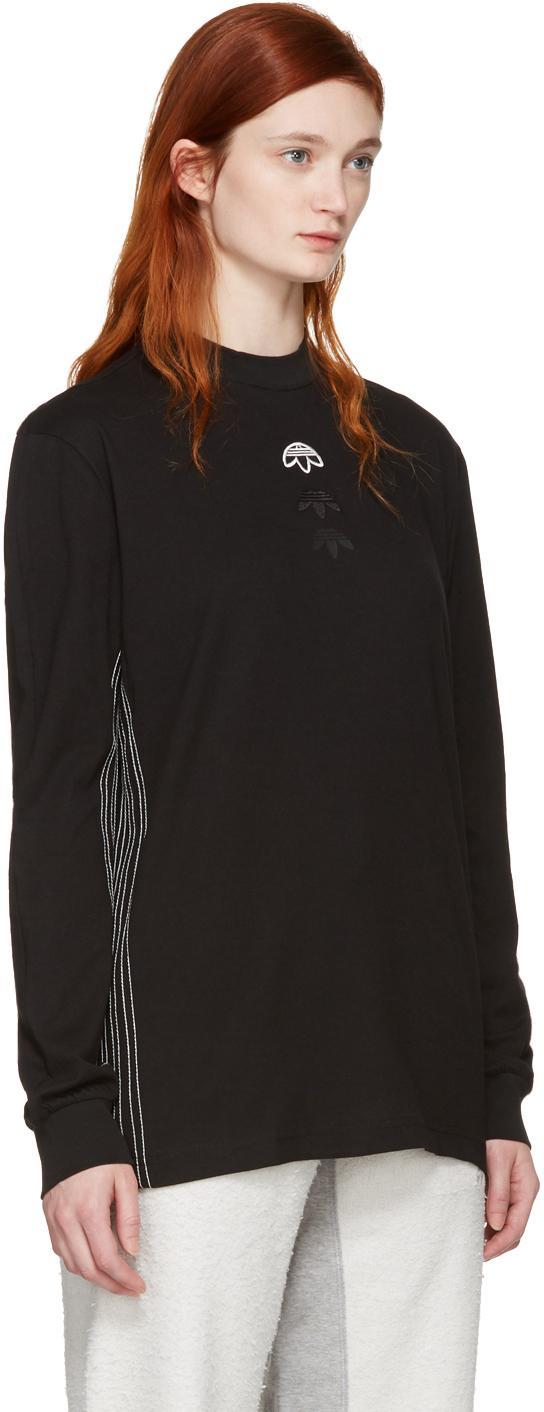 Lyst Alexander Wang Black Long Sleeve Logo T Shirt In Black