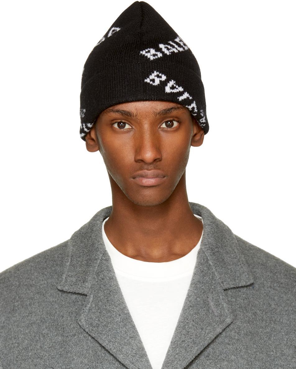 Lyst - Balenciaga Black All Over Logo Beanie in Black for Men f2d7e231ed9