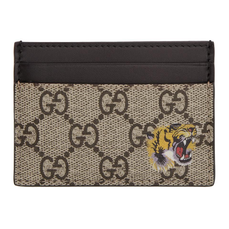 d7c947cf437 Gucci Beige GG Supreme Tiger Card Holder in Natural for Men - Lyst