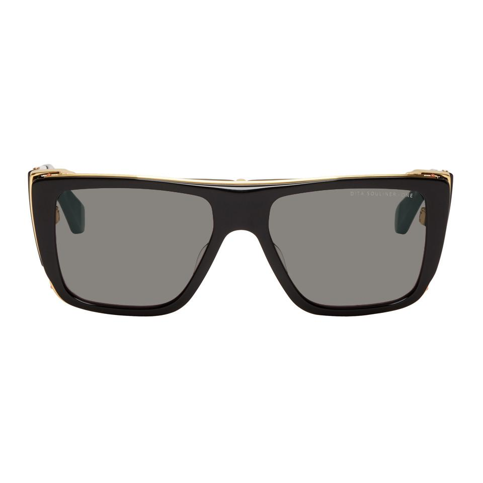 05693cc66a86 Lyst - DITA Black And Gold Souliner-one Sunglasses in Black for Men