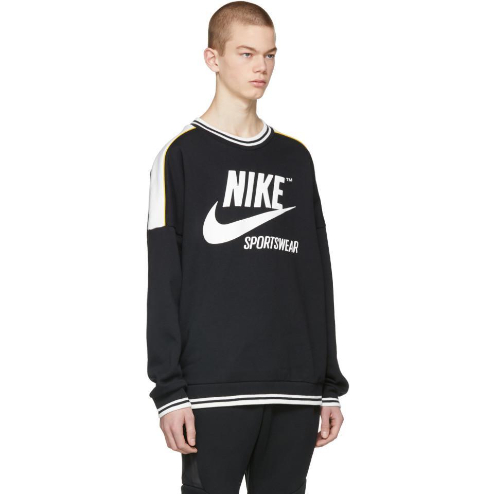 b7b585b0a8f5 Lyst - Pull molletonne noir et blanc Archive 90s Nike pour homme en ...