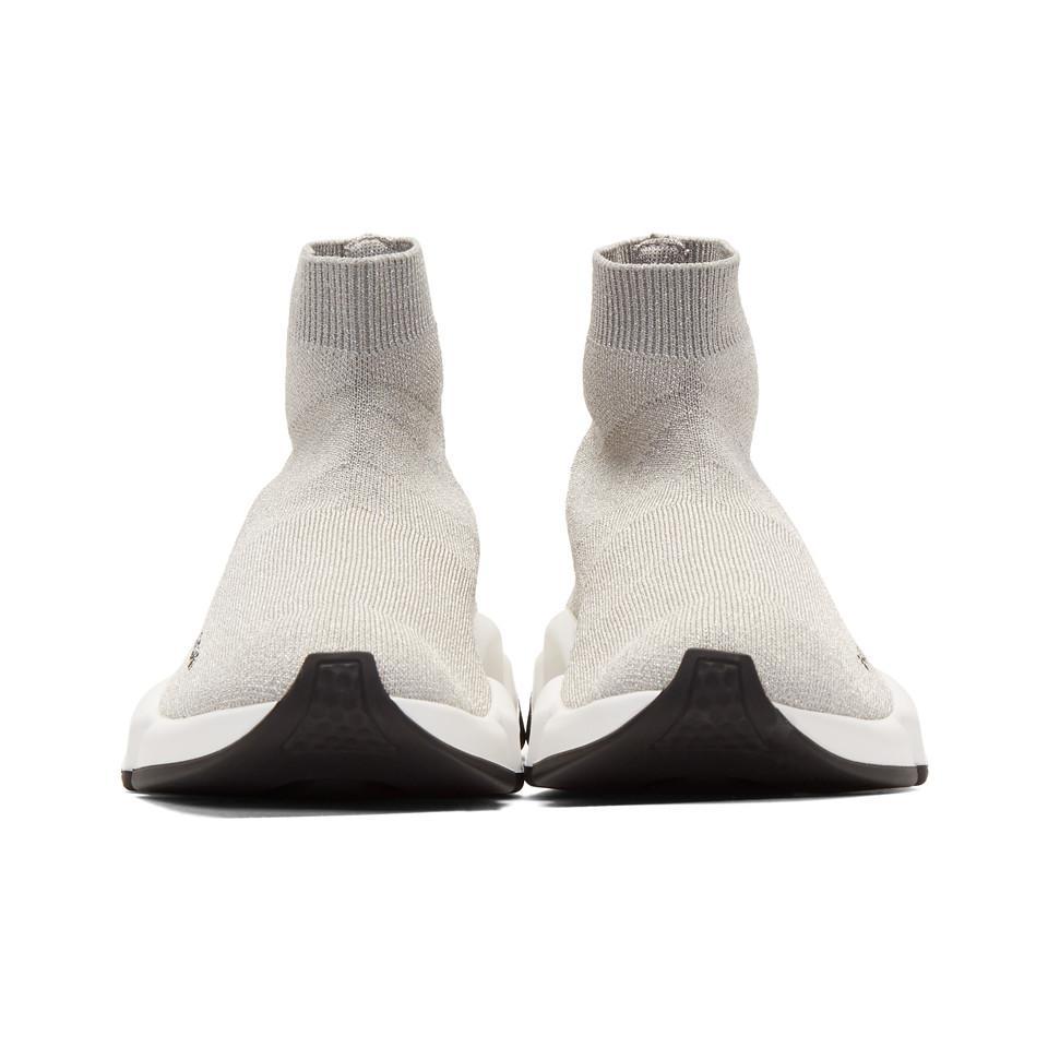 f8064aed5228e Lyst - Balenciaga Silver Lurex Speed High-top Sneakers in Metallic