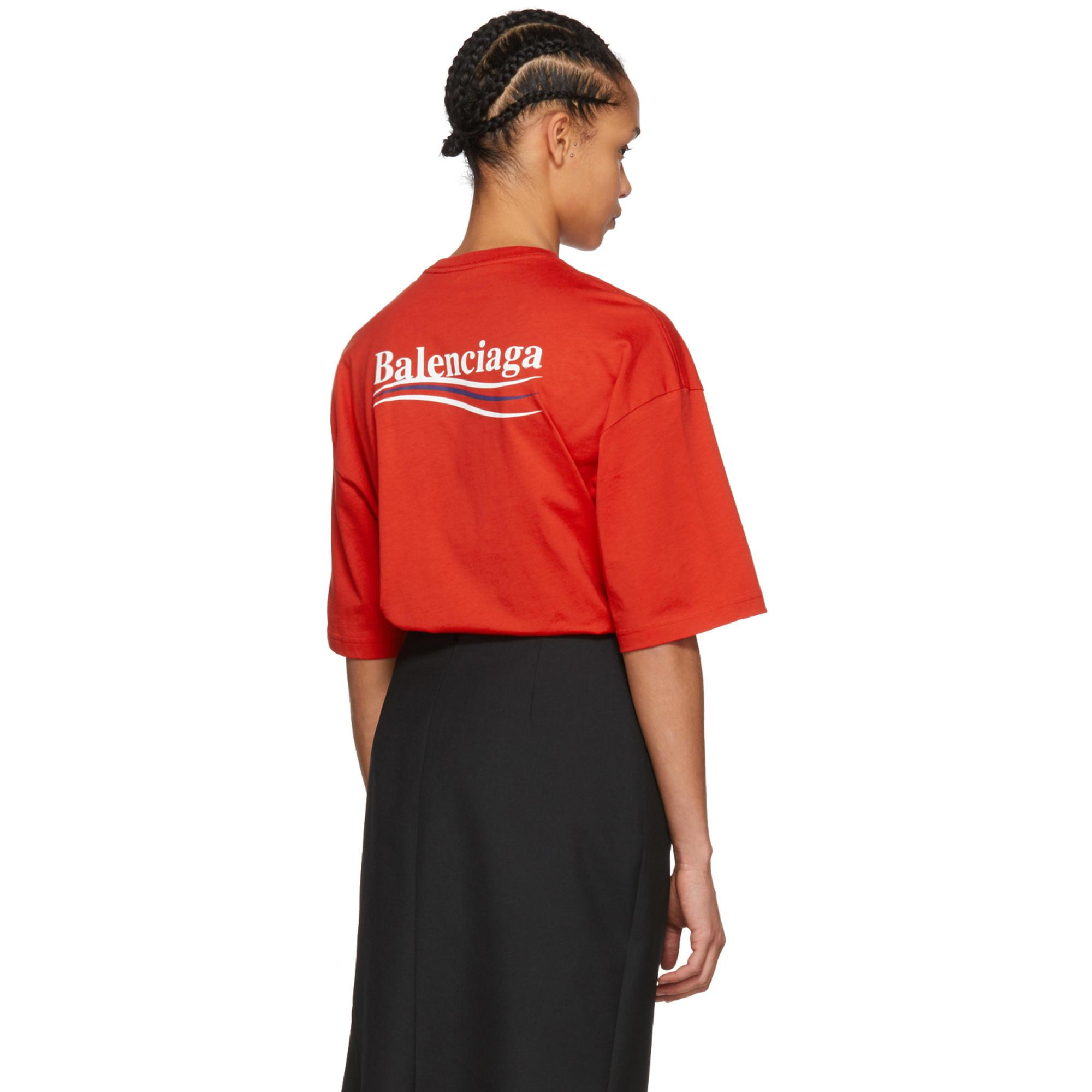 bf19e5a9397d Balenciaga Red Campaign T-shirt in Red - Lyst