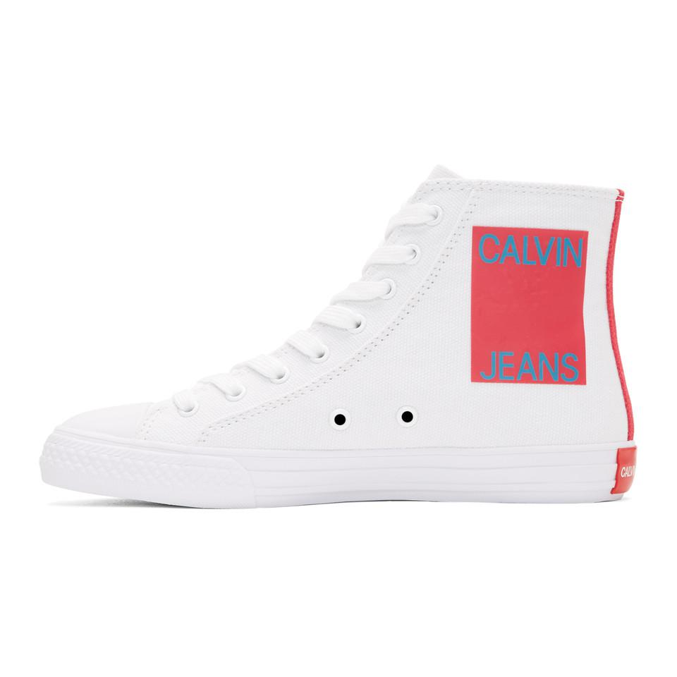 Calvin Klein 205W39NYC Off-White Canvas Emoji High-Top Sneakers a4n3x