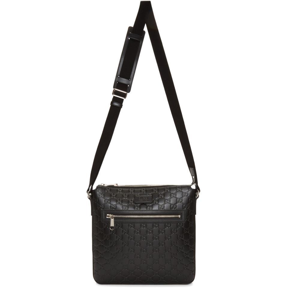 d16503d36 Lyst - Gucci Black Signature Messenger Bag in Black for Men