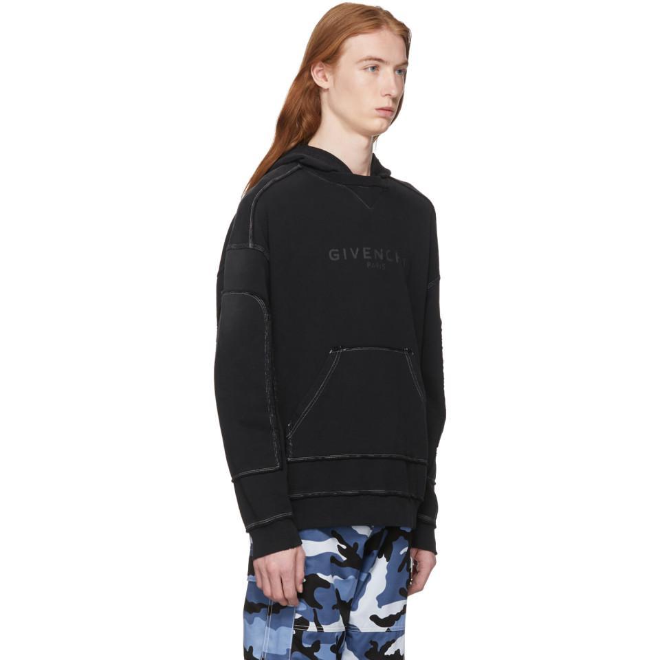 443a2ec6061 Givenchy - Black Pull a capuche noir Paris for Men - Lyst. Afficher en  plein écran
