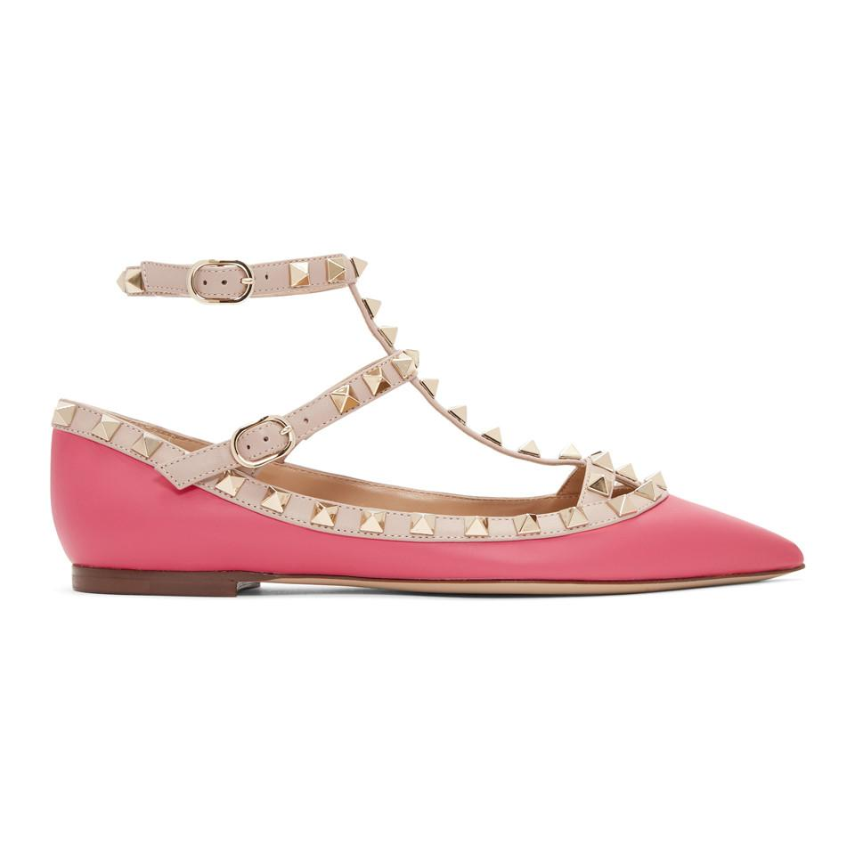 Read more Pink Valentino Garavani Rockstud Cage Ballerina Flats HLC1C