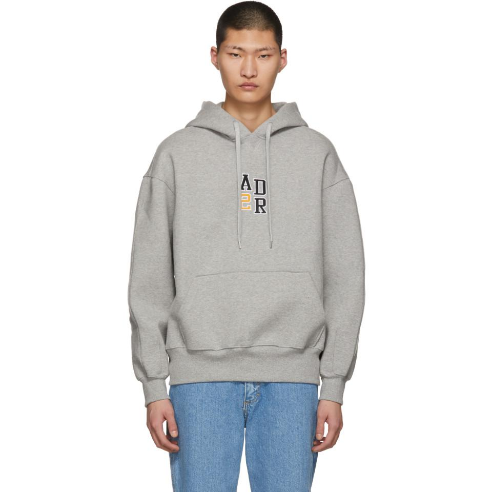 Lyst - ADER error Grey Oversized Logo Hoodie in Gray for Men e8039fd12