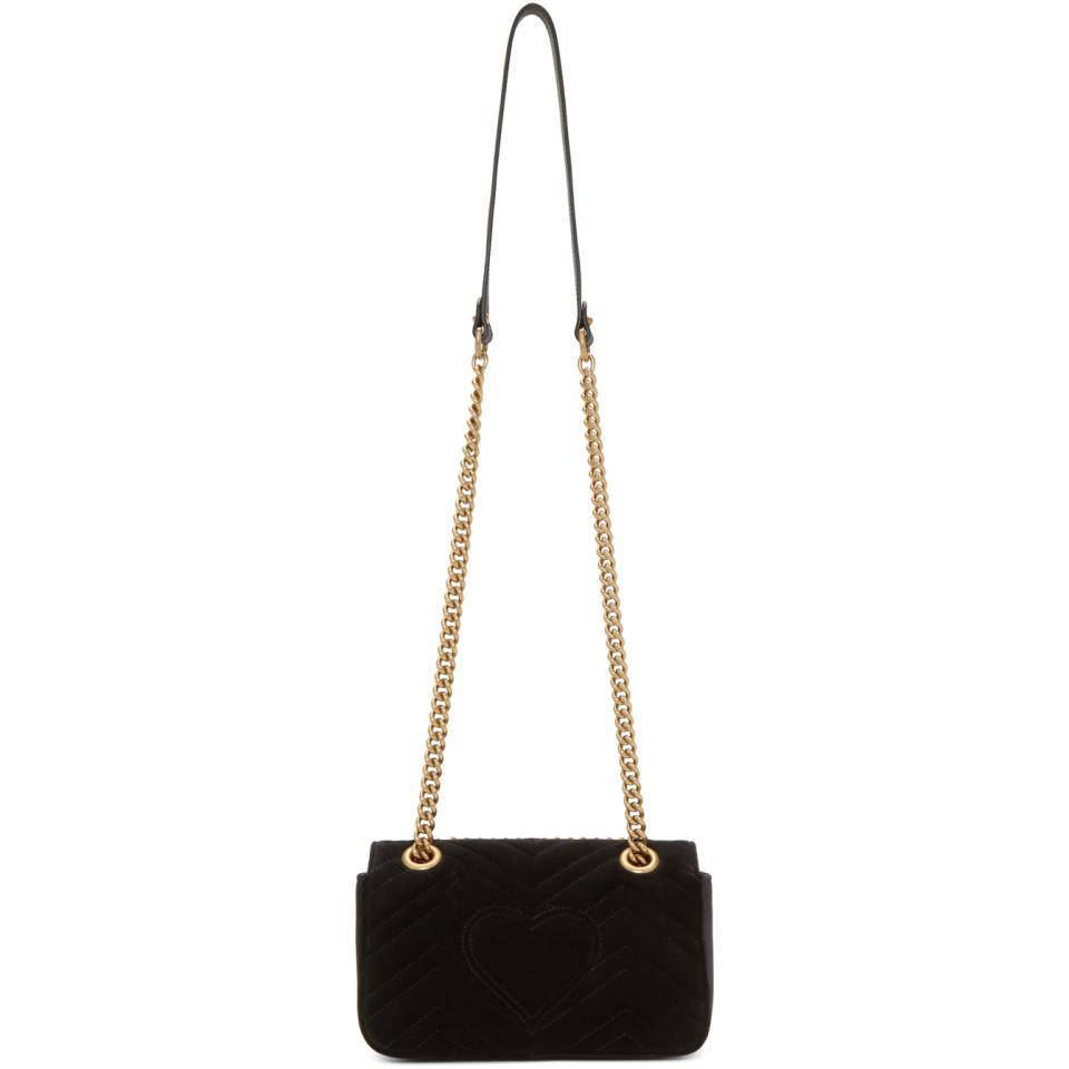 c278cfa6b3af Gucci Black Velvet Mini GG Marmont 2.0 Bag in Black - Save 15% - Lyst
