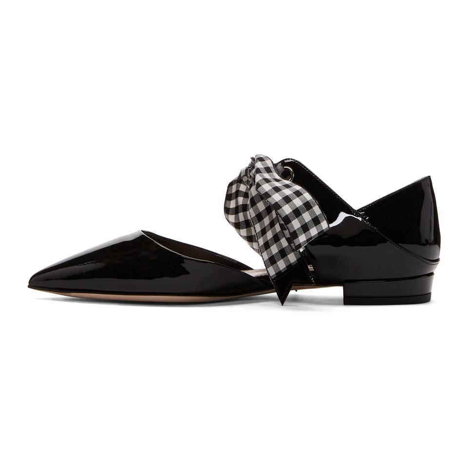 quality design 6f819 46d98 miu-miu-black-Black-Patent-Gingham-Ribbon-Pointy-Ballerina-Flats.jpeg