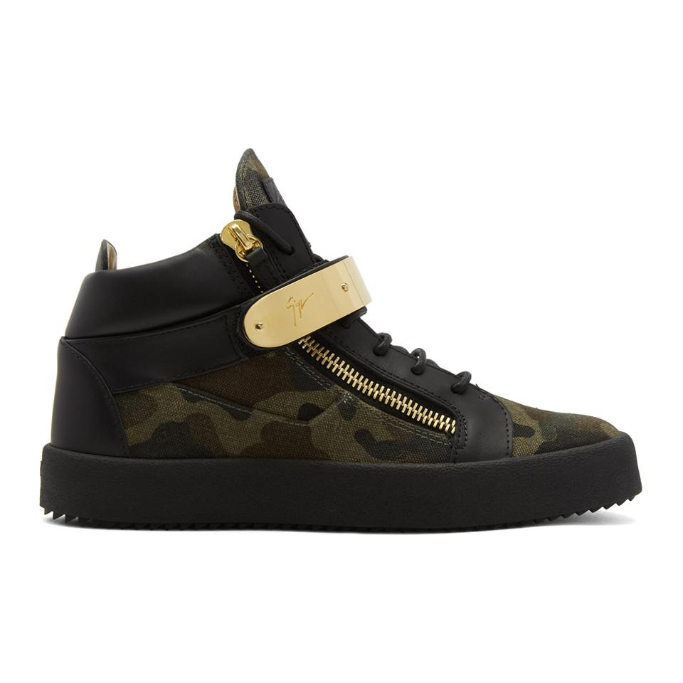 Giuseppe Zanotti Black & Green Camouflage May London Sneakers 6KK5NF5O