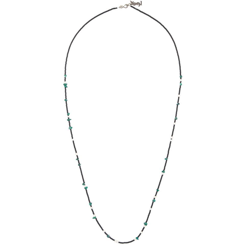 Saint Laurent Black and Green Beaded Necklace 9Q1tMI