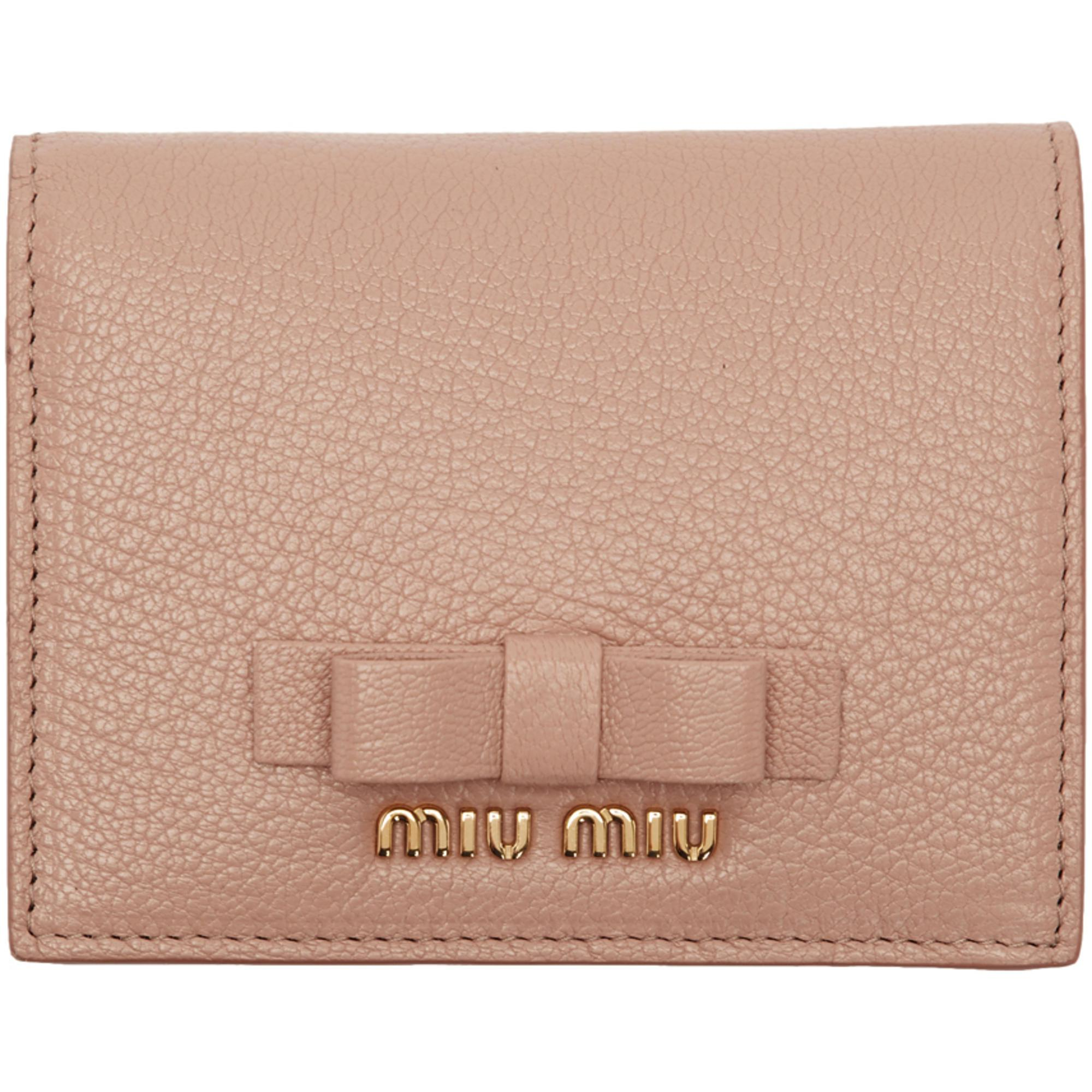 d002d001437e Miu Miu Pink Bow French Wallet in Pink - Lyst