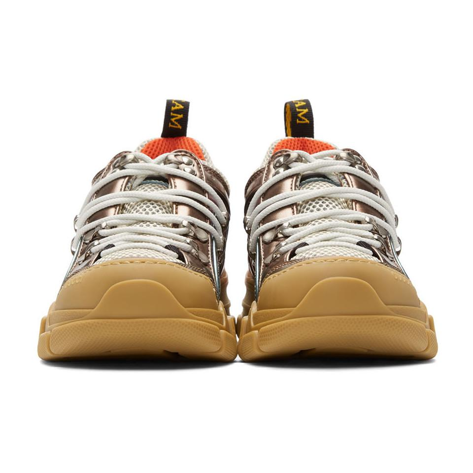 39f98a083fd0 Gucci - Multicolor Pink And Green Flashtrek Sneakers - Lyst. View fullscreen