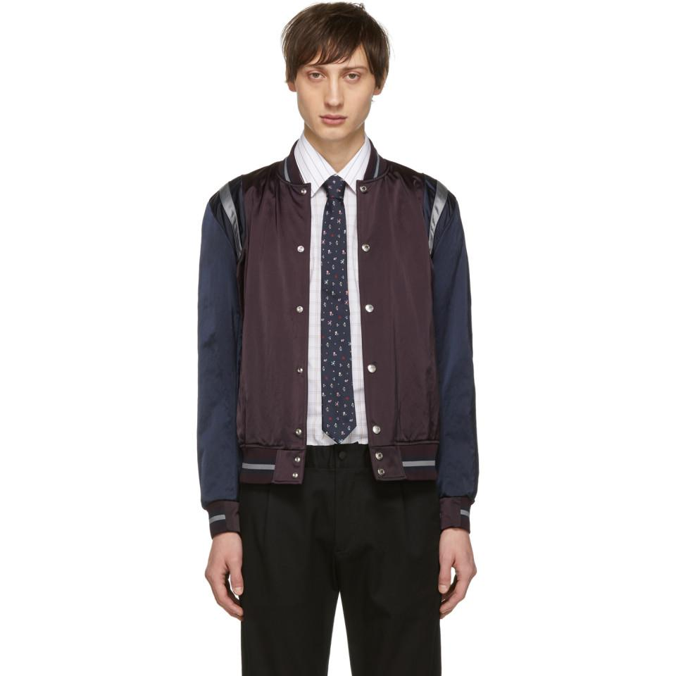 554c9a185a4b Paul Smith Burgundy And Navy Varsity Jacket in Blue for Men - Lyst