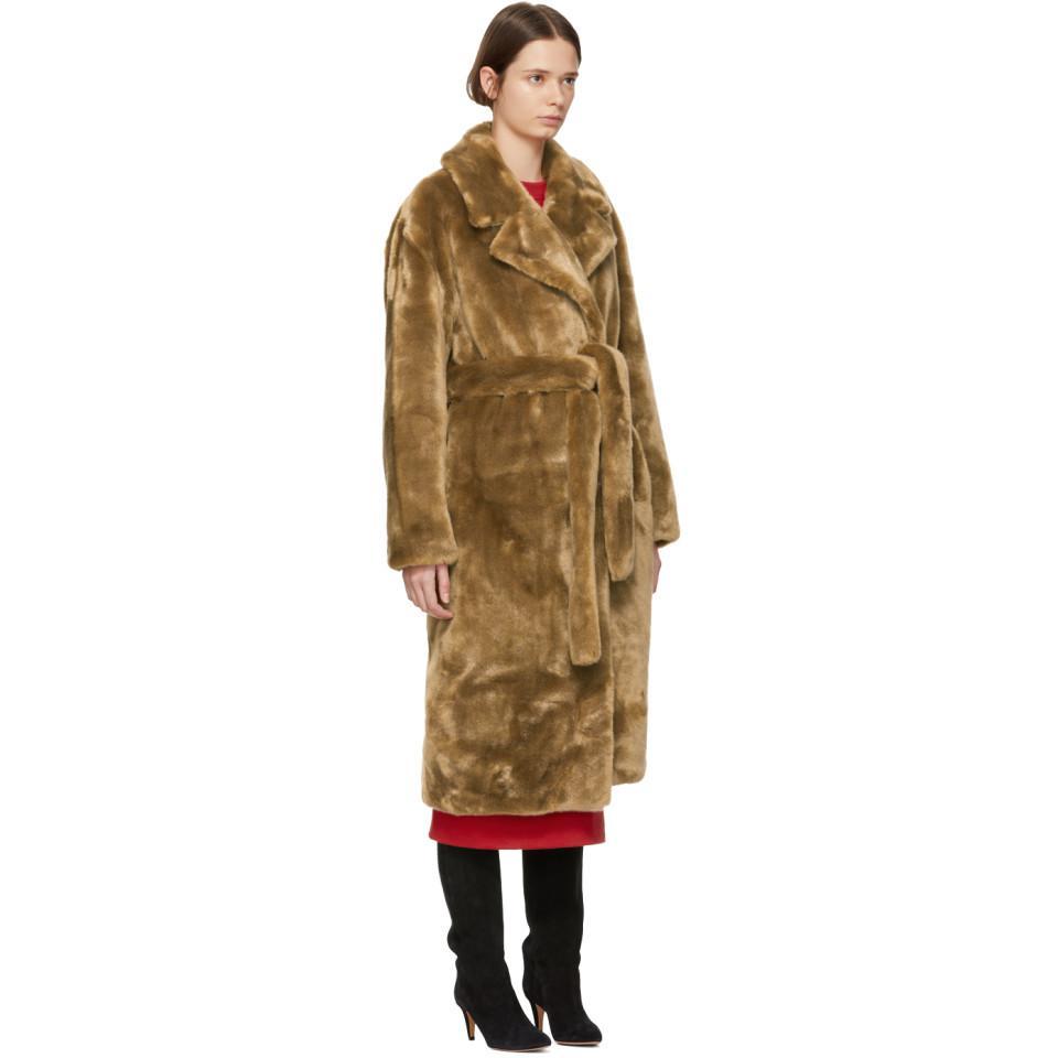 e4c48c88457c ... Faux-fur Oversized Luxe Trench Coat - Lyst. View fullscreen