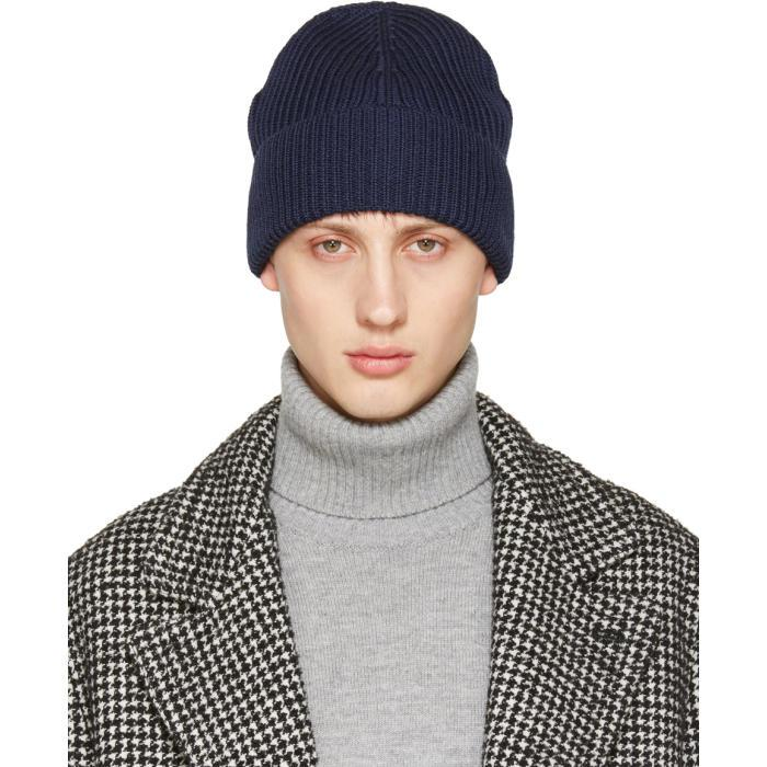 25e21a5c6ac Lyst - Maison Margiela Navy Rib Knit Beanie in Blue for Men