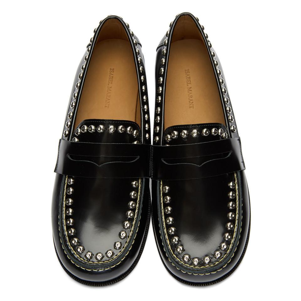 2678a7dd5b5 Lyst - Isabel Marant Black Fenzay Studded Loafers in Black