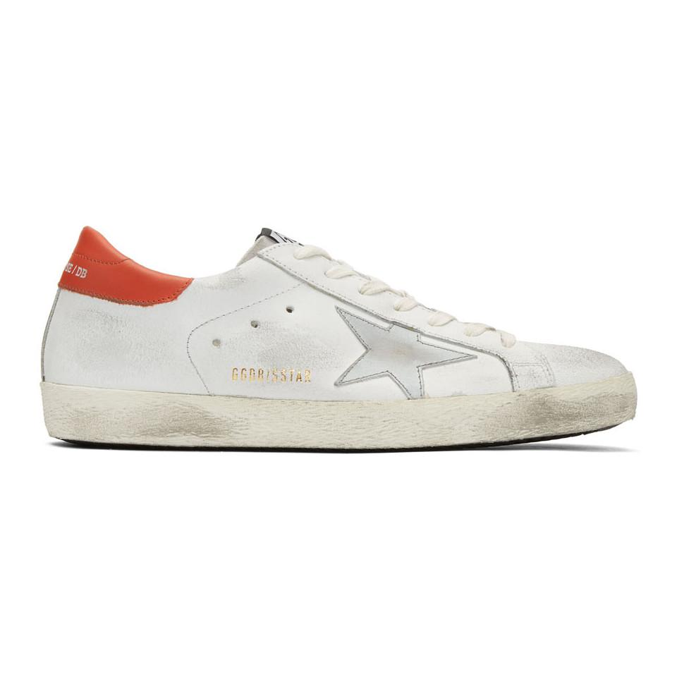 Golden Goose White & Red Crack Superstar Sneakers nWzO0Czq7