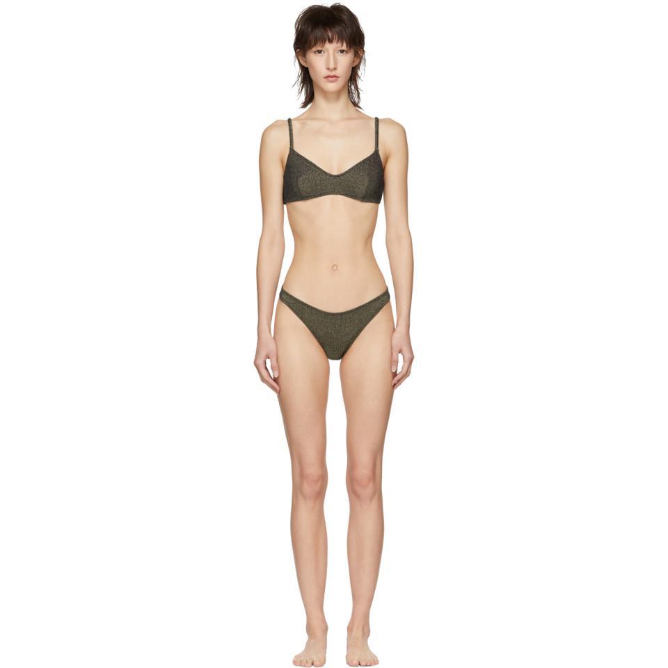 7f12a17fae Solid   Striped. Women s Gray Grey And Gold Metallic Rib The Rachel Bikini