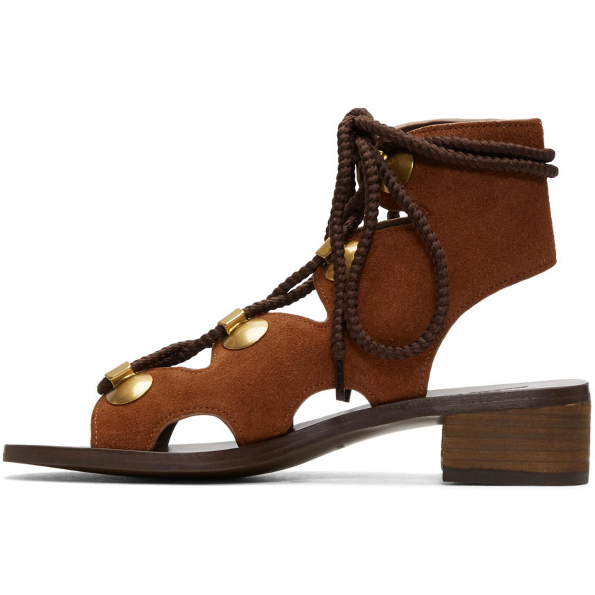 See by Chloé Orange Suede Gladiator Tie Sandals qcQTMY