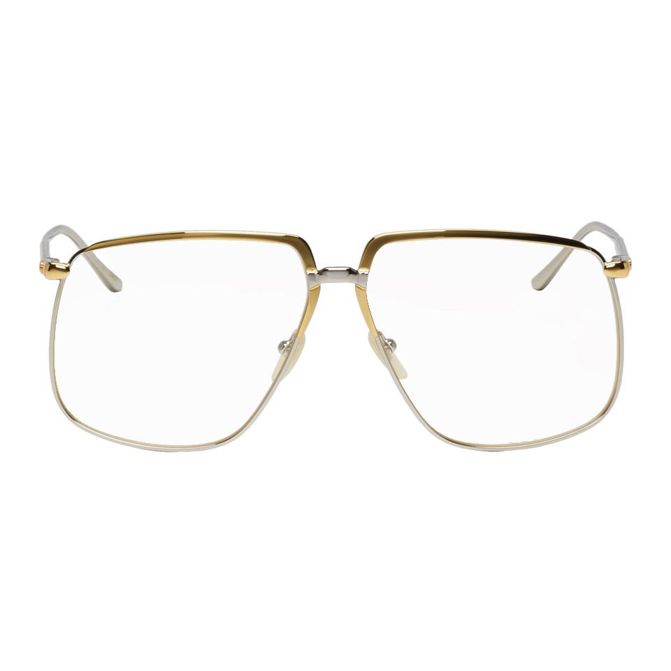130117ba3b Gucci Gold And Silver Metal 80s Glasses in Metallic for Men - Lyst
