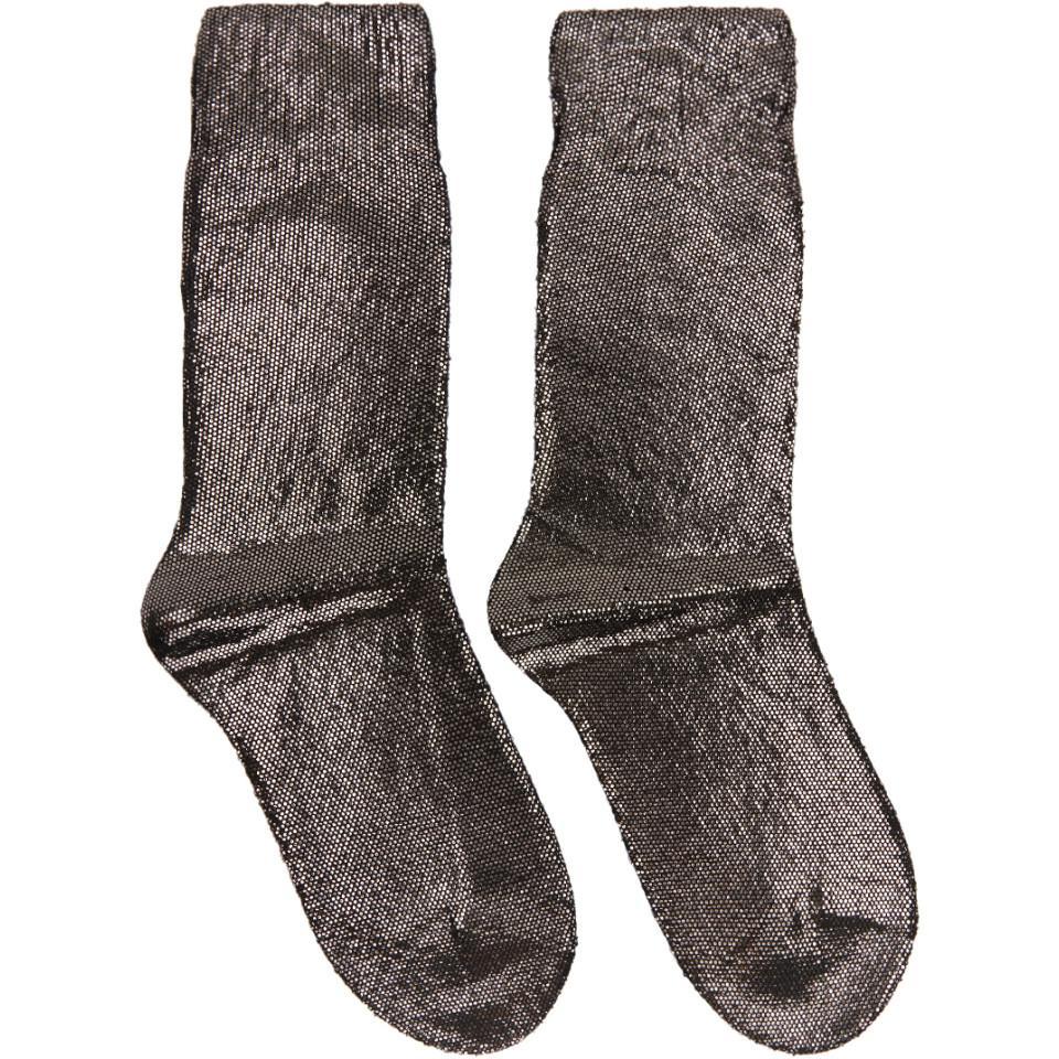 ANN DEMEULEMEESTER Gunmetal Laminated Socks Vente Pas Cher À La Mode Faux Prix Pas Cher Qualité Pas Cher Sortie Site Officiel En Ligne xt7nEt