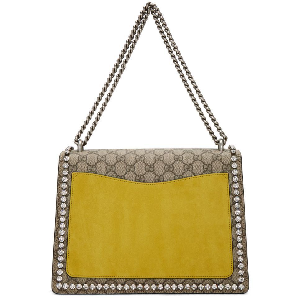 f173bfce5b3b Gucci Brown Medium Crystal Bow Dionysus Gg Bag in Brown - Lyst