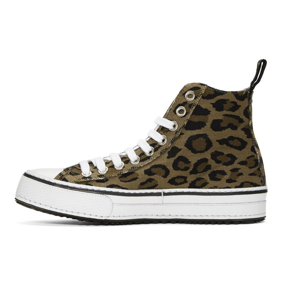 Brown and Black Leopard High-Top Sneakers R13 New Styles Cheap Online eVblK