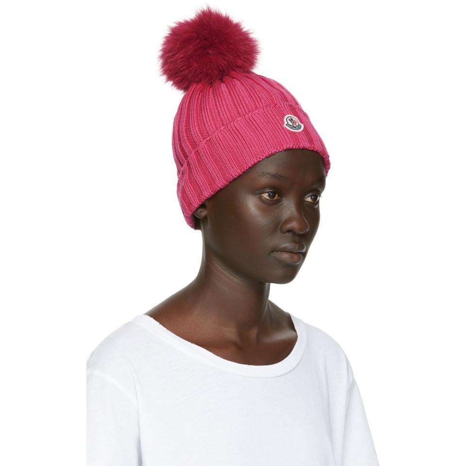 7d1c40ee3eabdc Moncler - Pink Fur Rib Pom Pom Beanie - Lyst. View fullscreen
