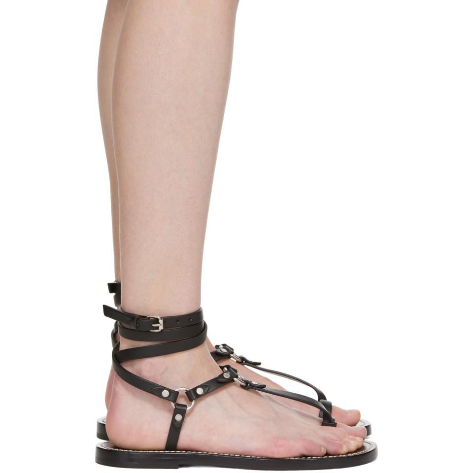 Manebí Black Joxy Elegant O-Ring Sandals LdKJ96bog