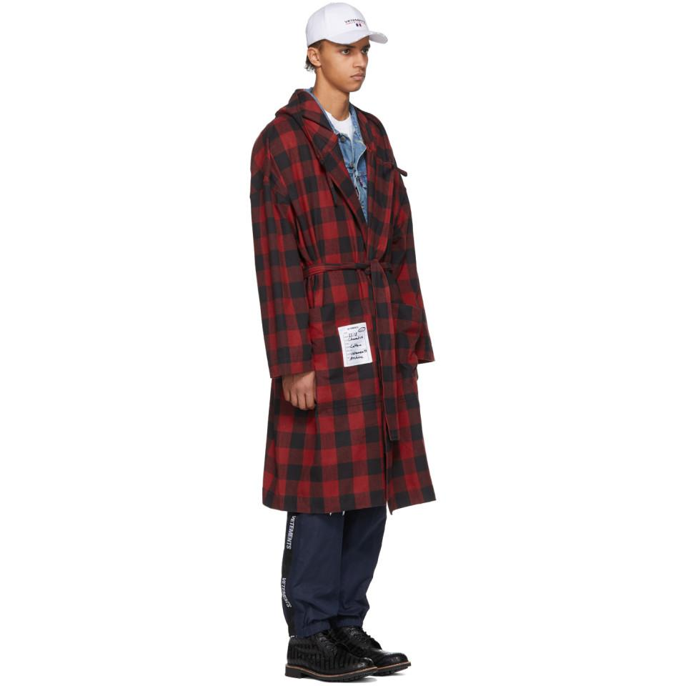 Lyst - Vetements Red Light Flannel Robe in Red for Men