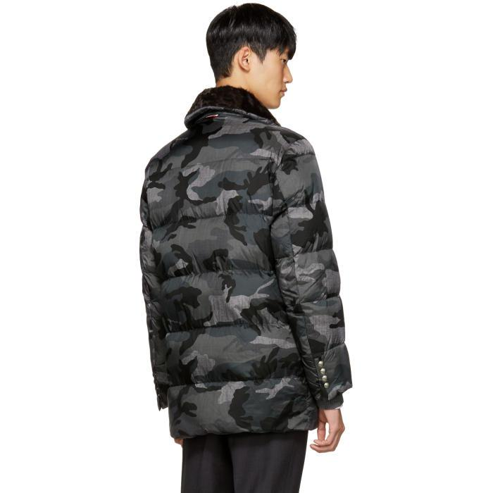 5502bd475 Moncler Gamme Bleu Grey Quilted Down Camo Jacket in Gray for Men - Lyst