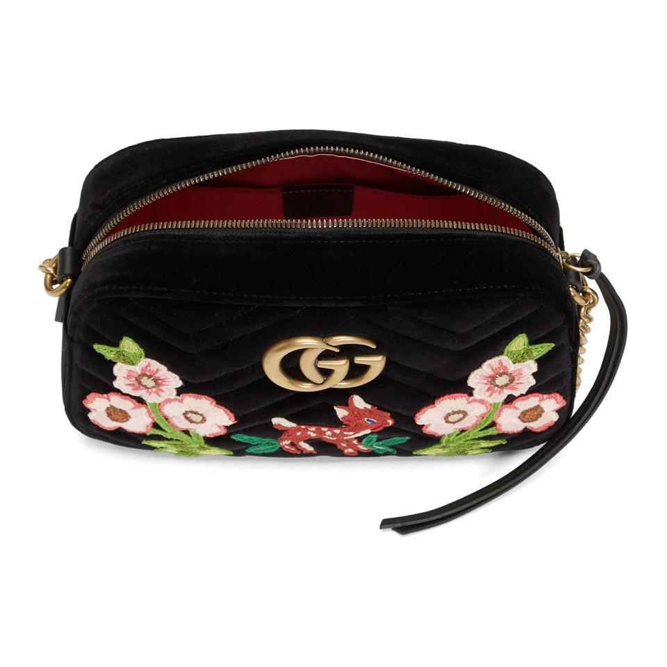 817f1dc83795 Gucci - Black Small Velvet GG Marmont 2.0 Camera Bag - Lyst. View fullscreen