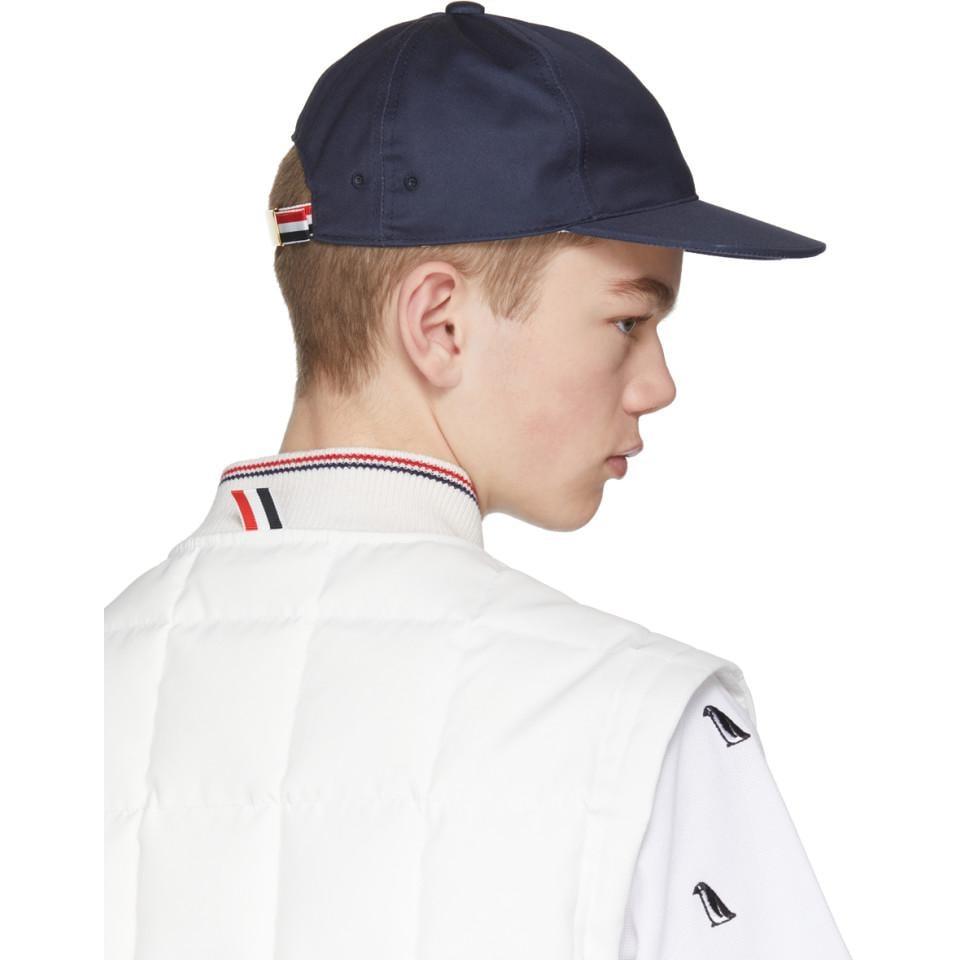 c3b204b5206c7 Thom Browne Navy Baseball Cap in Blue for Men - Lyst