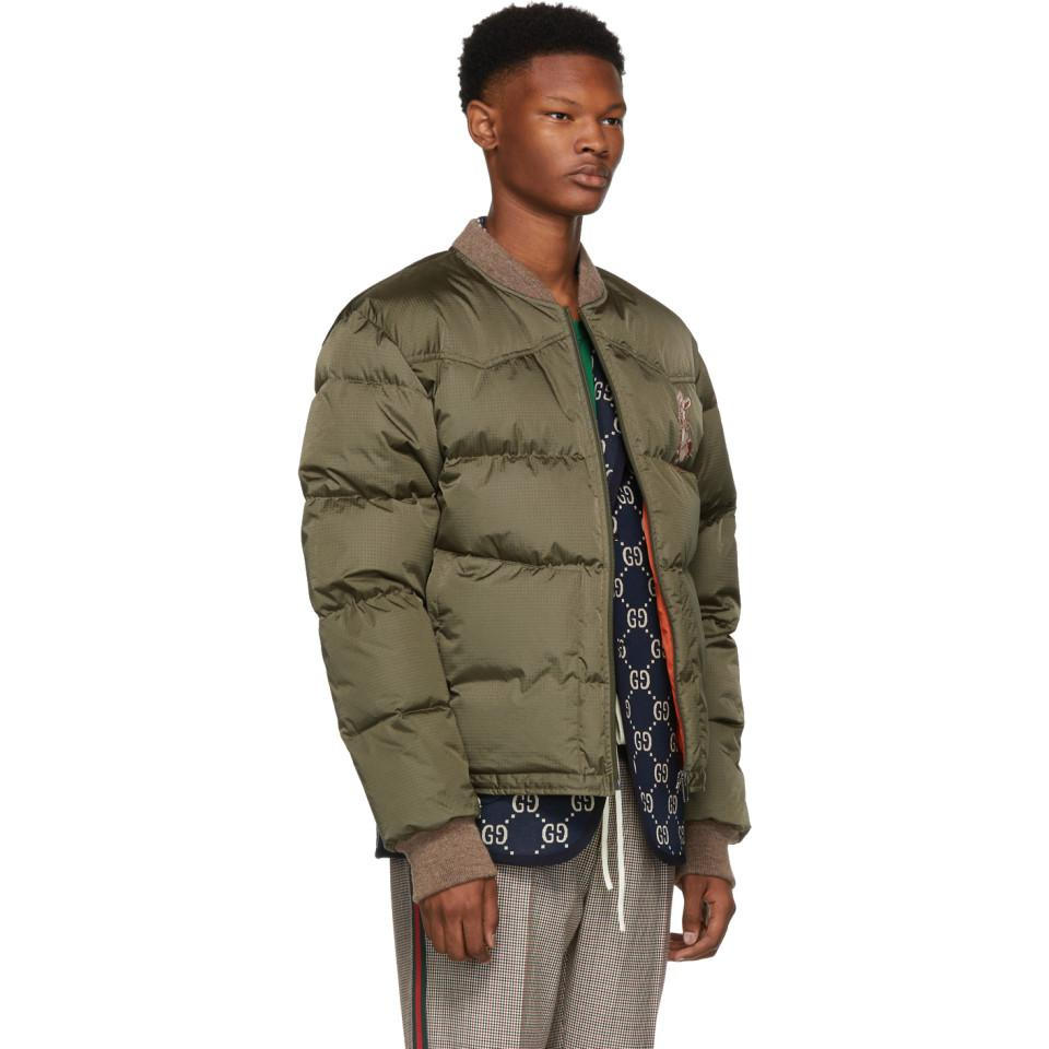 073ca9cd8f204 Gucci Green Embroidered Down Jacket in Green for Men - Lyst