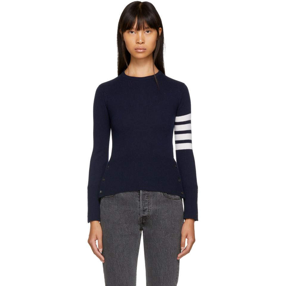 d107dde75d04 Thom Browne Navy Classic Four Bar Crewneck Sweater in Blue - Save ...
