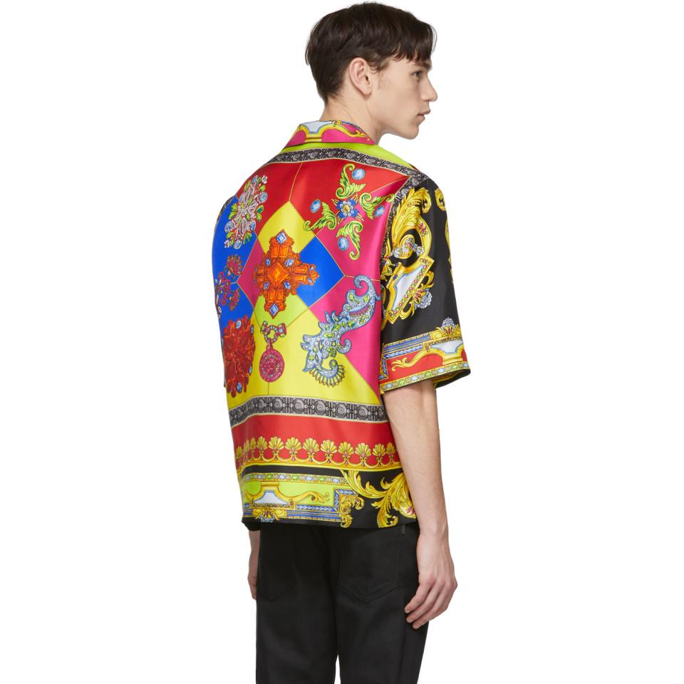 a3909cd1c Versace Multicolor Silk Chain Jewelry Shirt for Men - Lyst