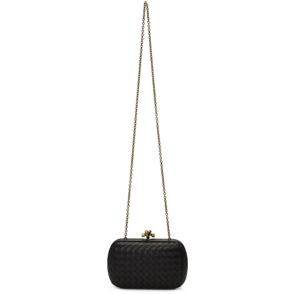 94b501bb774c Lyst - Bottega Veneta Black Intrecciato Chain Knot Clutch in Black ...