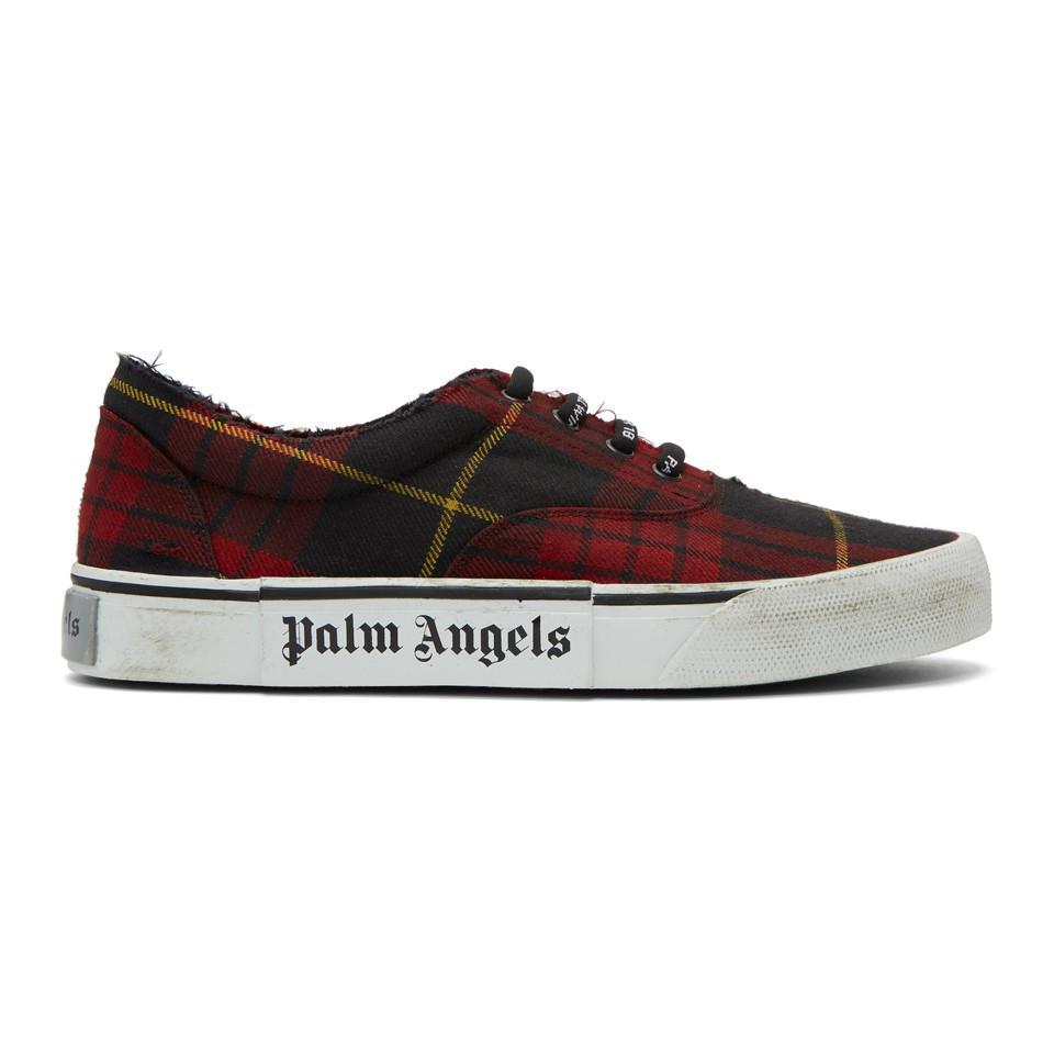 Red Tartan Distressed Sneakers Palm Angels o9unrdIq