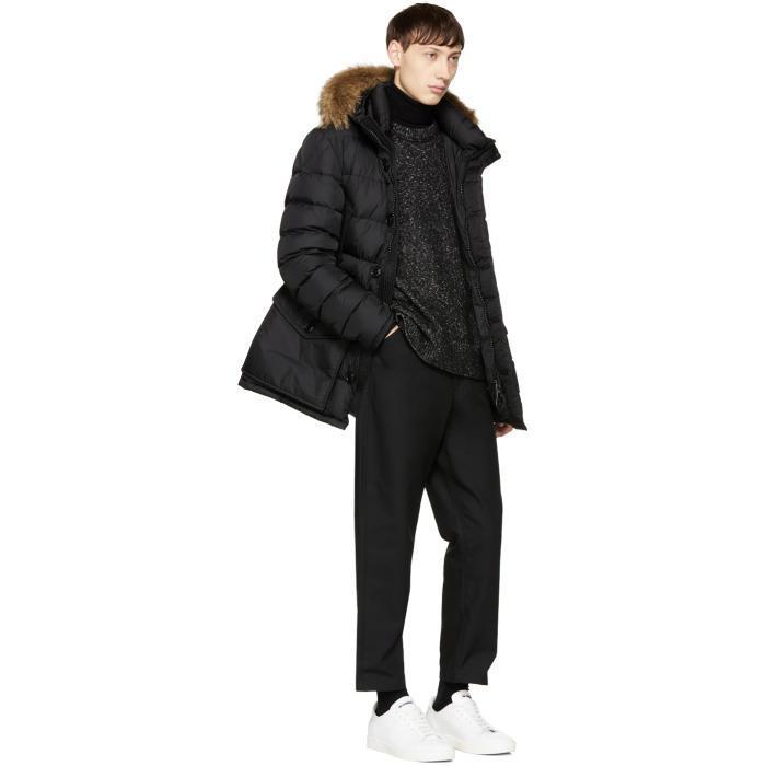 Moncler Black Down Cluny Coat In Black For Men Lyst