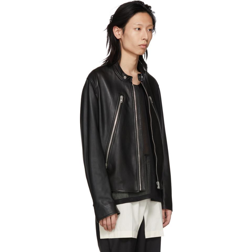 e4878378a Maison Margiela Black Leather Classic Five-zip Jacket in Black for ...