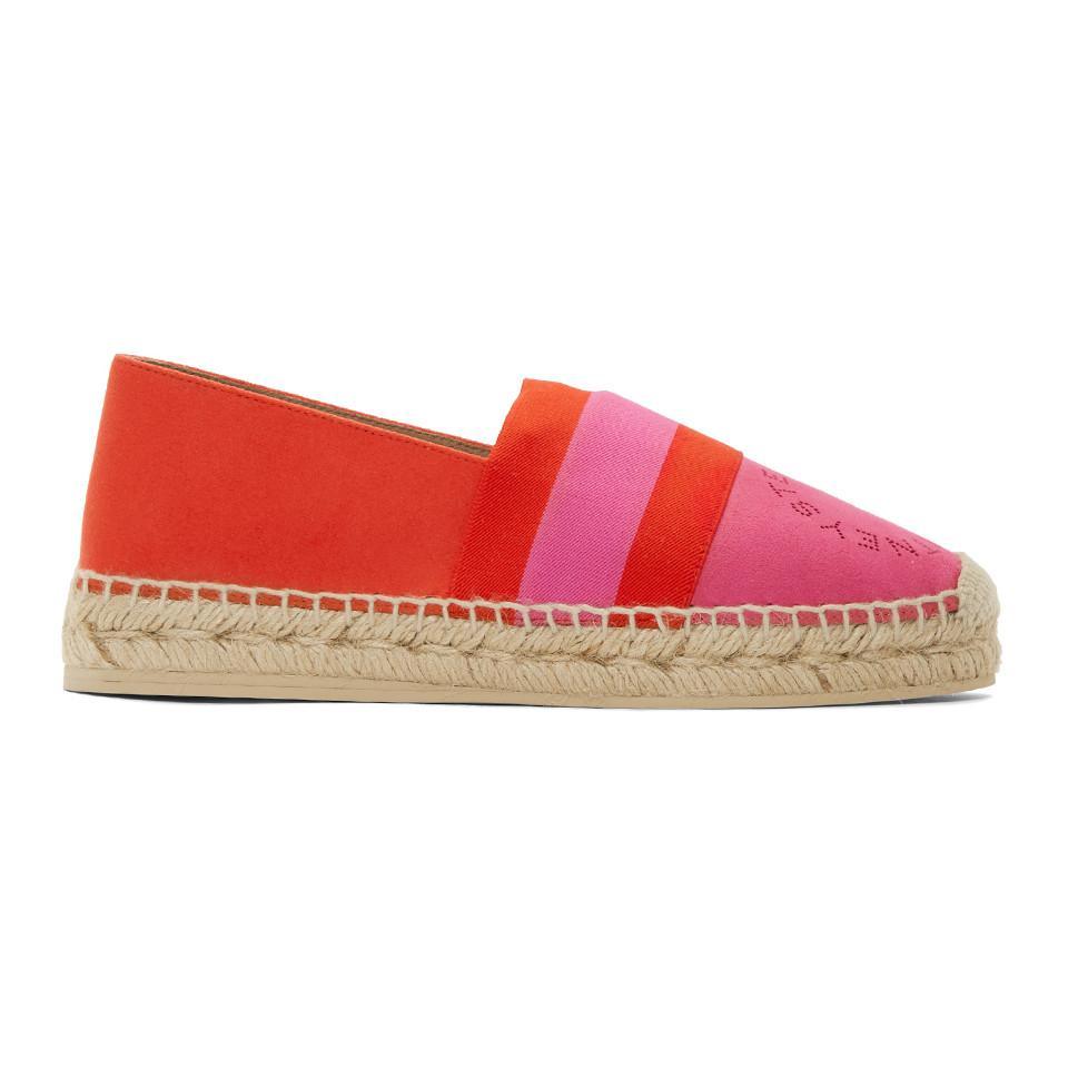 Red and Pink Striped Espadrilles Stella McCartney Htqe44m