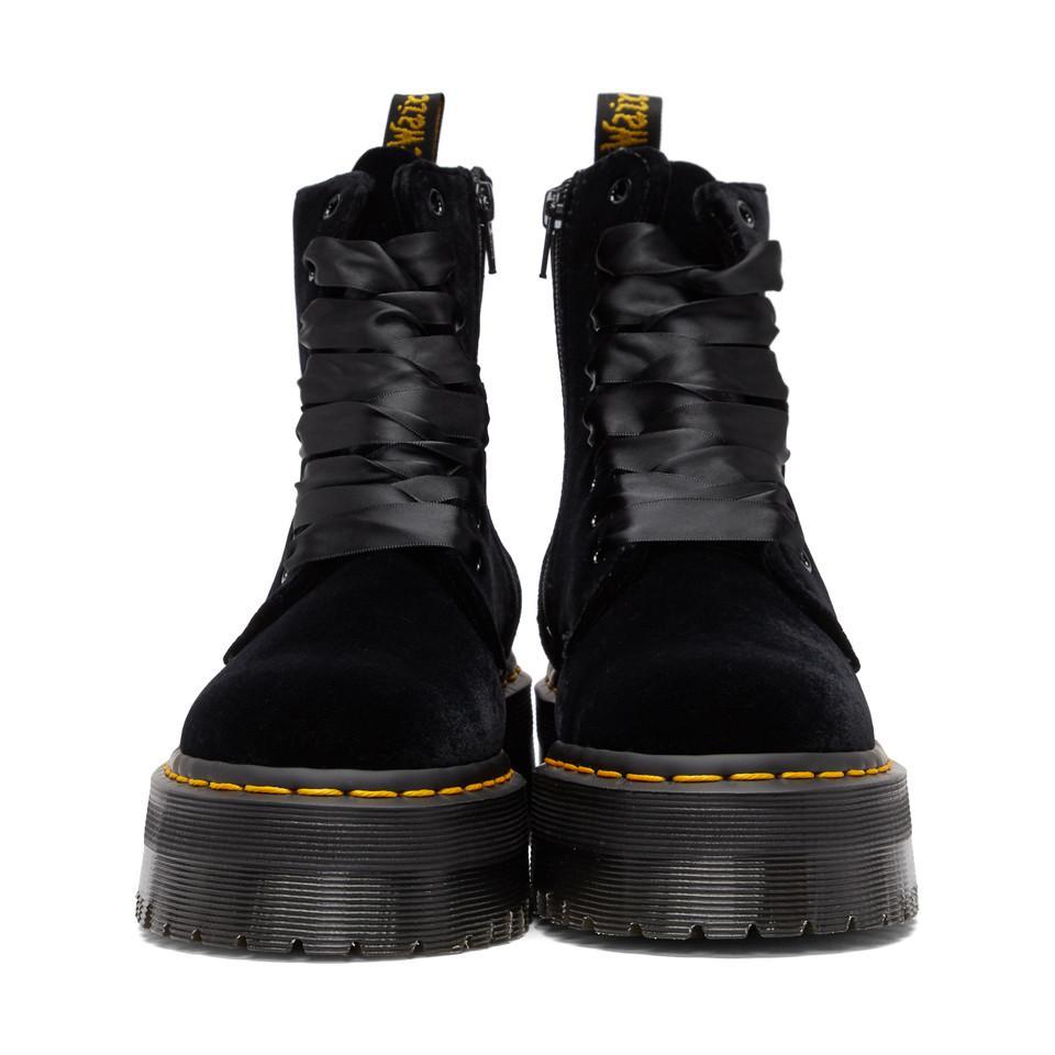 fa84f63c1b6 Dr. Martens - Black Velvet Jadon Platform Boots - Lyst. View fullscreen
