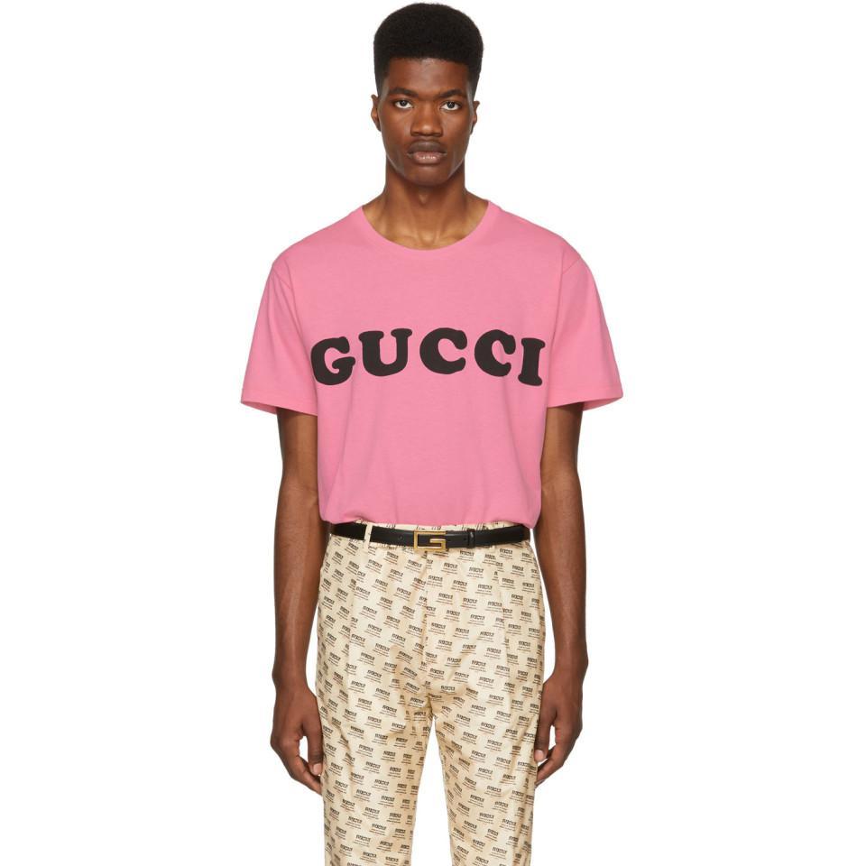 67026f1fa109 Gucci - Pink Logo T-shirt for Men - Lyst. View fullscreen