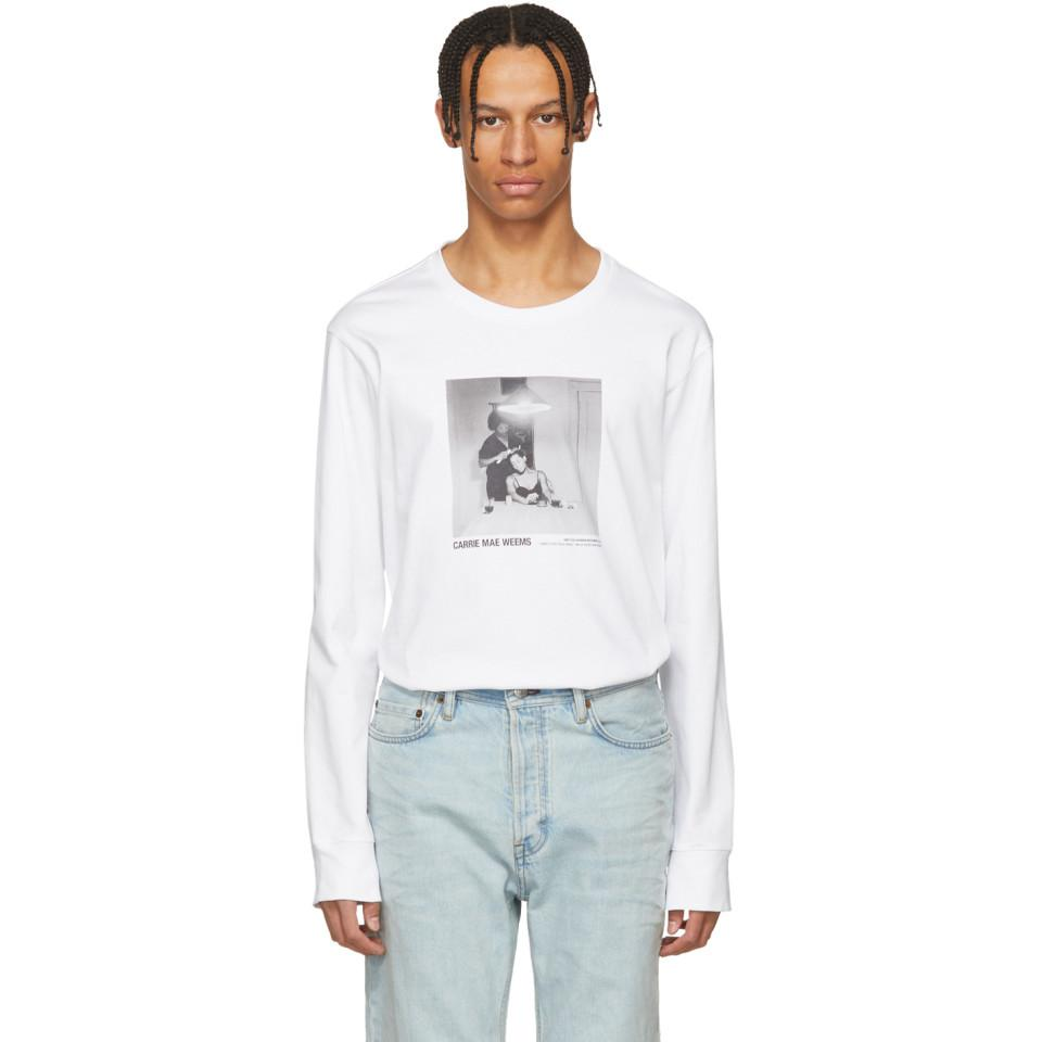 White Carrie Mae Weems Edition Untitled Woman Brushing Hair 1990 T-Shirt Helmut Lang Wholesale Price Online Newest Cheap Price Brand New Unisex Cheap Online Outlet Top Quality ICiSxGCoVS